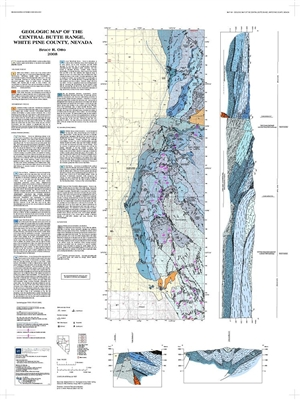 Geologic map of the central butte range white pine county nevada map only - Geological survey and mines bureau ...