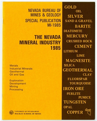 the nevada mineral industry 1985 tape bound booklet. Black Bedroom Furniture Sets. Home Design Ideas