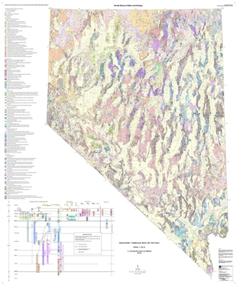Geologic terrane map of nevada plates 1 and 2 - Geological survey and mines bureau ...